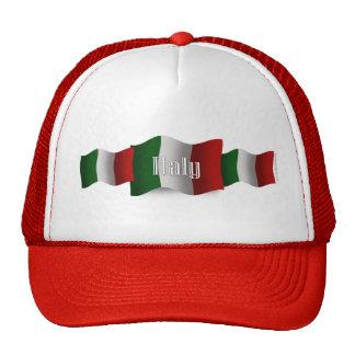 Bandera que agita de Italia Gorros Bordados