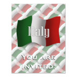 Bandera que agita de Italia Invitación 10,8 X 13,9 Cm