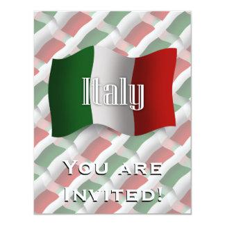 """Bandera que agita de Italia Invitación 4.25"""" X 5.5"""""""