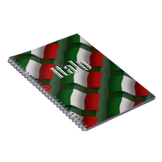 Bandera que agita de Italia Libreta Espiral