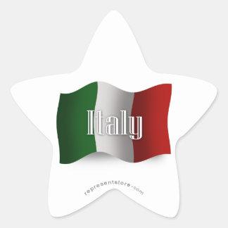 Bandera que agita de Italia Calcomanía Forma De Estrella Personalizadas