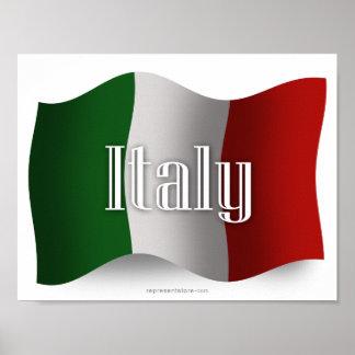 Bandera que agita de Italia Póster