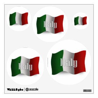 Bandera que agita de Italia Vinilo
