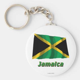Bandera que agita de Jamaica con nombre Llavero Redondo Tipo Pin
