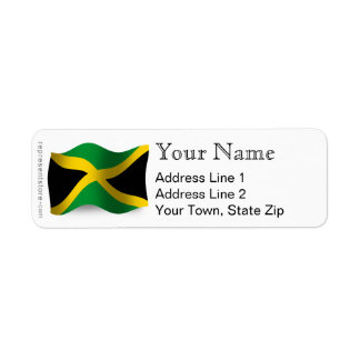 Bandera que agita de Jamaica Etiqueta De Remite