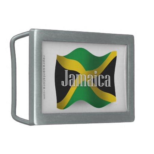 Bandera que agita de Jamaica Hebilla De Cinturón