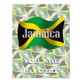 """Bandera que agita de Jamaica Invitación 4.25"""" X 5.5"""""""