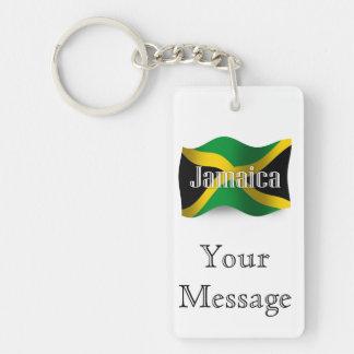 Bandera que agita de Jamaica Llavero Rectangular Acrílico A Doble Cara