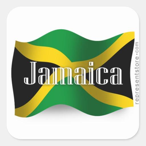 Bandera que agita de Jamaica Pegatina Cuadrada