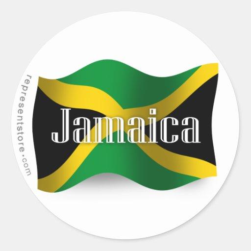 Bandera que agita de Jamaica Pegatina Redonda