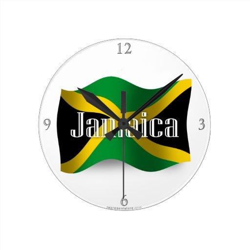 Bandera que agita de Jamaica Reloj De Pared