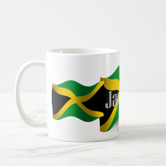 Bandera que agita de Jamaica Taza Básica Blanca