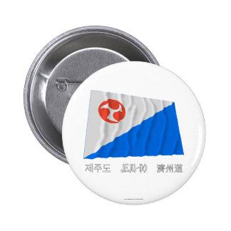 Bandera que agita de Jeju-Do con nombre Pin Redondo 5 Cm