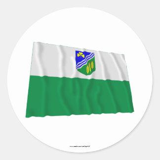 Bandera que agita de Jõgeva Pegatina Redonda