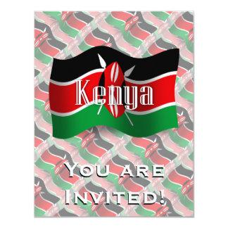 """Bandera que agita de Kenia Invitación 4.25"""" X 5.5"""""""