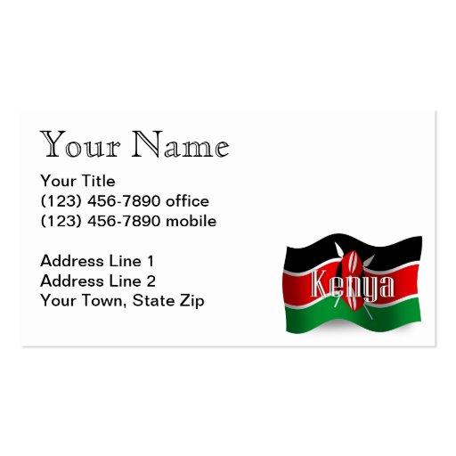 Bandera que agita de Kenia Tarjetas De Visita
