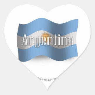 Bandera que agita de la Argentina Pegatina En Forma De Corazón