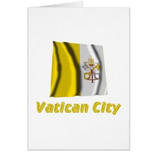 Bandera que agita de la Ciudad del Vaticano con no Tarjeta