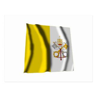 Bandera que agita de la Ciudad del Vaticano Postal
