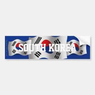 Bandera que agita de la Corea del Sur Etiqueta De Parachoque