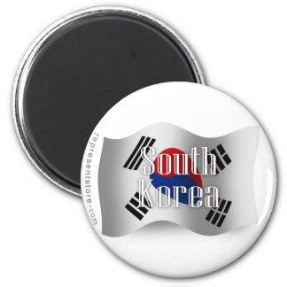 Bandera que agita de la Corea del Sur Imán Redondo 5 Cm