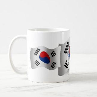 Bandera que agita de la Corea del Sur Tazas De Café