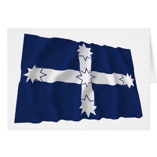 Bandera que agita de la estacada de Eureka Felicitaciones