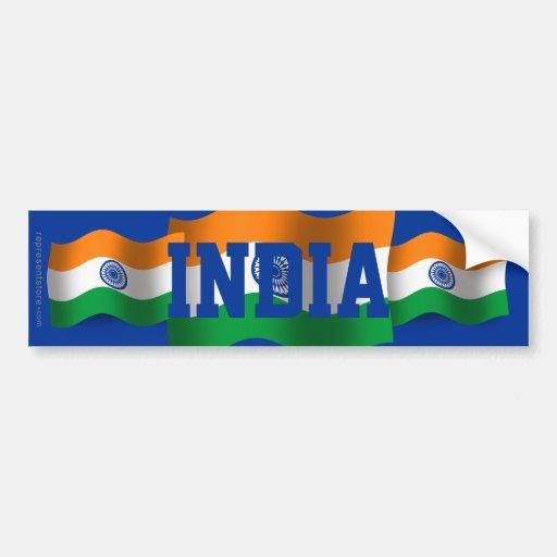 Bandera que agita de la India Etiqueta De Parachoque