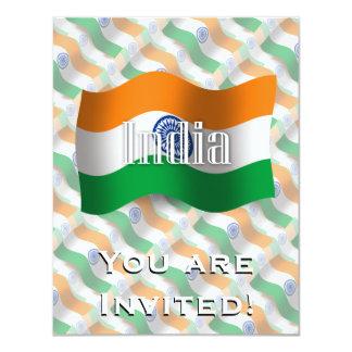 """Bandera que agita de la India Invitación 4.25"""" X 5.5"""""""