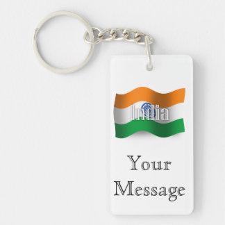 Bandera que agita de la India Llavero Rectangular Acrílico A Doble Cara