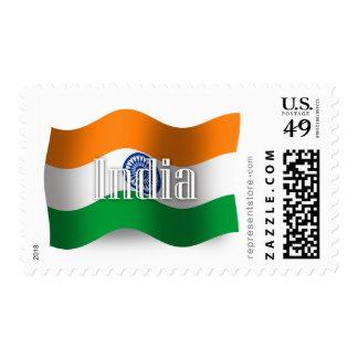 Bandera que agita de la India Franqueo