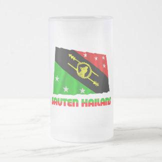Bandera que agita de la provincia de montañas meri tazas de café
