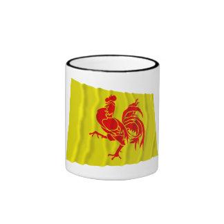 Bandera que agita de la región valona taza a dos colores