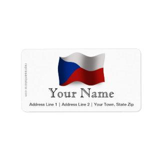 Bandera que agita de la República Checa Etiqueta De Dirección