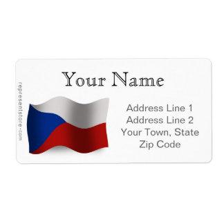 Bandera que agita de la República Checa Etiqueta De Envío