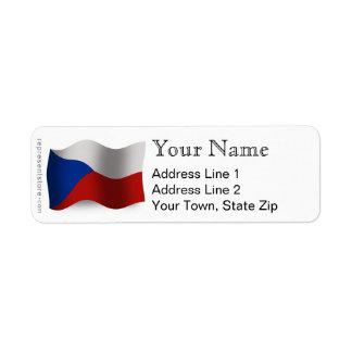 Bandera que agita de la República Checa Etiquetas De Remite