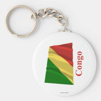 Bandera que agita de la república de Congo con nom Llaveros
