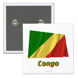 Bandera que agita de la república de Congo con nom Pin Cuadrada 5 Cm