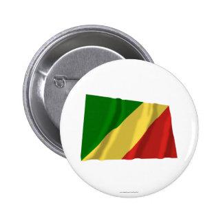 Bandera que agita de la república de Congo Pin Redondo 5 Cm
