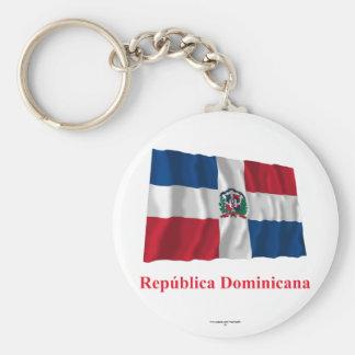 Bandera que agita de la República Dominicana con n Llavero Redondo Tipo Pin