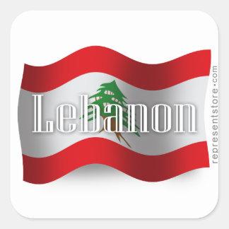 Bandera que agita de Líbano Pegatina Cuadrada
