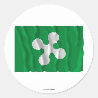 Bandera que agita de Lombardia Pegatina Redonda