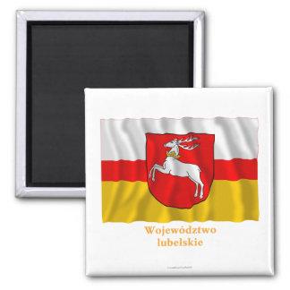 Bandera que agita de Lubelskie - de Lublin con nom Imán Para Frigorífico