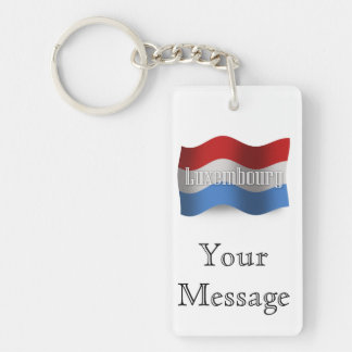 Bandera que agita de Luxemburgo Llavero Rectangular Acrílico A Doble Cara