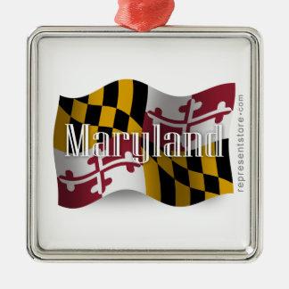 Bandera que agita de Maryland Adorno De Navidad