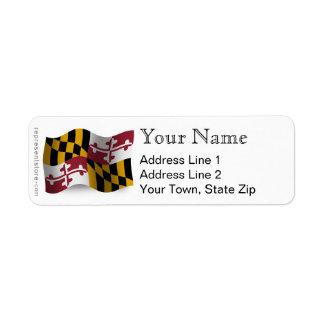 Bandera que agita de Maryland Etiquetas De Remite