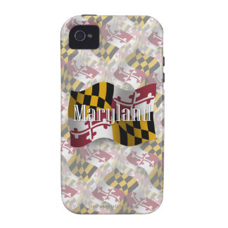 Bandera que agita de Maryland Vibe iPhone 4 Carcasas
