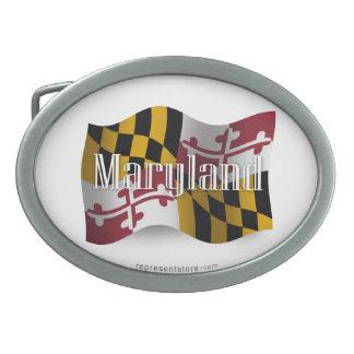 Bandera que agita de Maryland Hebilla Cinturón Oval