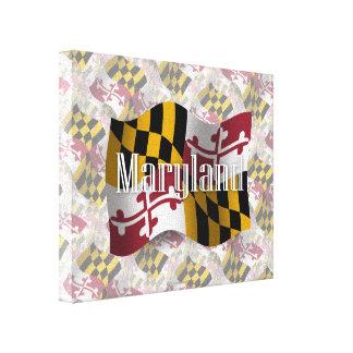 Bandera que agita de Maryland Lienzo Envuelto Para Galerias