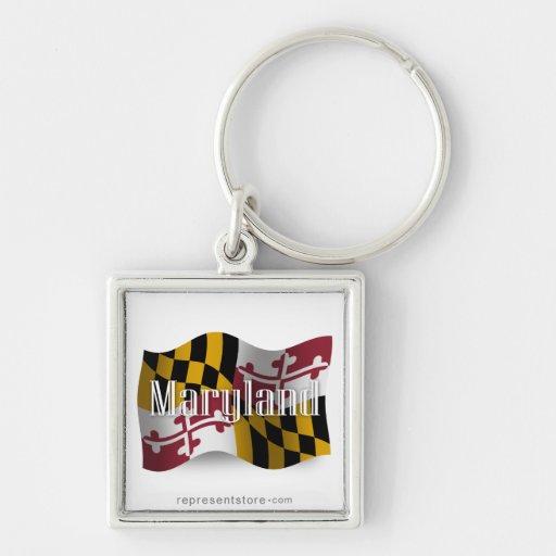 Bandera que agita de Maryland Llaveros